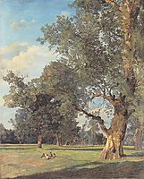 Trees in the Prater with seated figures , 1833, waldmuller