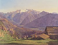 View of the Dachstein with the Hallstättersee from the Hütteneckalpe at Ischl , 1838, waldmuller