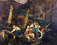 The violets pickers (Early Spring in the Wienerwald), 1858, waldmuller
