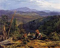 Wienerwald landscape with Wildegg castle, 1855, waldmuller