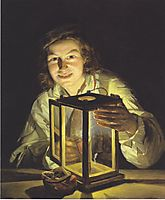 The young boy with the stable-lantern , 1824, waldmuller
