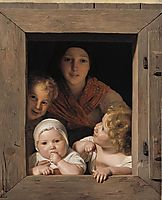Young Peasant Woman with Three Children at the Window , 1840, waldmuller