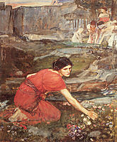 Maidens picking Flowers by a Stream, Study, 1911, waterhouse