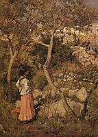 Two Little Italian Girls by a Village, 1875, waterhouse
