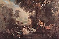 The Halt during the Chase, c.1720, watteau