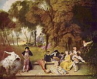 Merry Company in the Open Air, c.1720, watteau