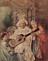 The Mezzetin-s Family, c.1717, watteau