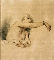 Nude with Right Arm Raised, 1718, watteau