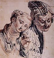 Sketch with Two Figures, 1715, watteau