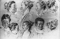 Studies of Women-s Heads, watteau