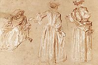 Three Studies of a Lady with a Hat, c.1715, watteau