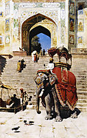 Royal Elephant at the Gateway to the Jami Masjid, Mathura, c.1895, weeks