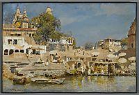 Temples and bathing ghat at Benares, 1885, weeks