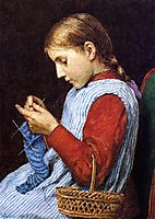 Girl Knitting, weir