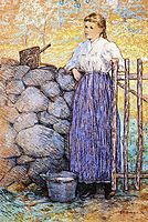 Girl Standing by a Gate, 1896, weir