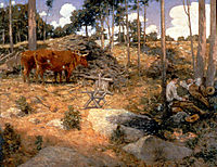 Noonday Rest in New England, 1897, weir