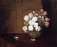Roses in a Silver Bowl on a Mahogany Table, c.1890, weir