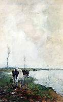 A Cow Standing By The Waterside In A Polder, weissenbruch
