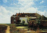 Farm beside canal in polder, weissenbruch