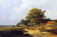 Farmer with herd on countryroad, weissenbruch