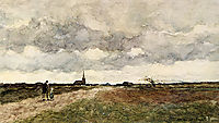 Figures On A Country Road, A Church In The Distance, weissenbruch