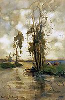 Fisherman in polder landscape, weissenbruch