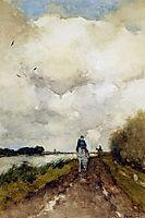 Horseman on path near Noorden, weissenbruch