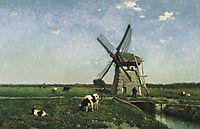 Landscape with windmill near Schiedam, 1873, weissenbruch