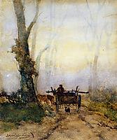 Man on a cart in wood, weissenbruch
