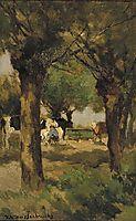 Milking cows underneath the willows, weissenbruch