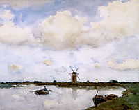 Mill at the lake, weissenbruch