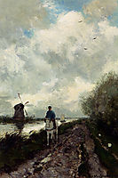 On The Tow Path Along The River Amstel, weissenbruch