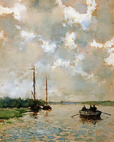 Rowing on the river, weissenbruch