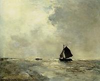 Sailing Boat in Choppy Seas, weissenbruch