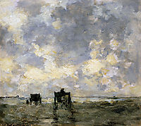 Shell carts on the beach, weissenbruch