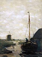 Ship in polder canal, weissenbruch