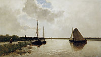 Ships on canal, weissenbruch