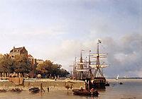 Ships on a quay, weissenbruch