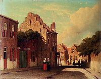 A Sunlit Townview With Figures Conversing, weissenbruch