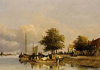 Townsfolk on a quay, Wijk Bij Duursrede, 1847, weissenbruch