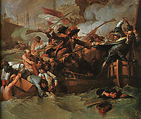 The Battle of La Hogue, Destruction of the French fleet, May 22, 1692 (detail), west
