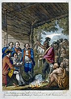 The Indians giving a talk to Colonel Bouquet in a conference at a council fire, near his camp on the banks of Muskingum in North America in Oct. 1764, west