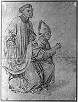 Bishop kneeling, in profile, swinging a censer, accompanied by a clerk, weyden