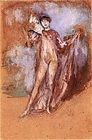 Grey and Pink, a Draped Model with Fan, c.1894, whistler