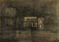 Nocturne Black and Gold - The Rag Shop, Chelsea, c.1878, whistler