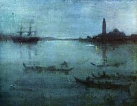 Nocturne in Blue and Silver, The Lagoon, Venice, 1880, whistler