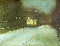 Nocturne in Grey and Gold: Chelsea Snow, 1876, whistler