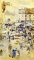 Variations in Violet and Grey - Market Place, 1885, whistler