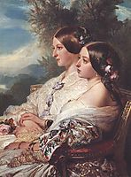 The Cousins: Queen Victoria and Victoire, Duchesse de Nemours, 1852, winterhalter