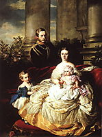 Emperor Frederick III of Germany, King of Prussia with his wife, Empress Victoria, and their children, Prince William and Princess Charlotte, 1862, winterhalter